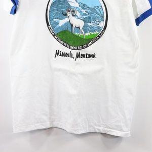 Vintage Shirts - New Vintage 80s BMW Motorcycle V-Neck Ringer Shirt